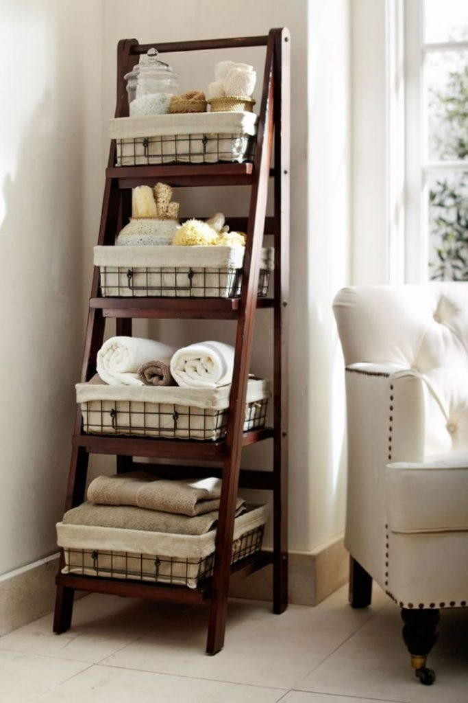ladder bookshelf with wire baskets for storage