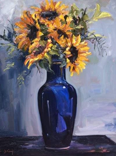 sunflowers-in-blue-vase-donna-tuten