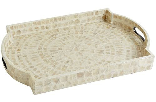 white capiz outdoor serving tray