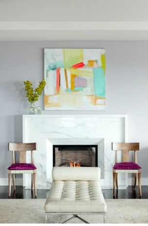 spring artwork above mantel