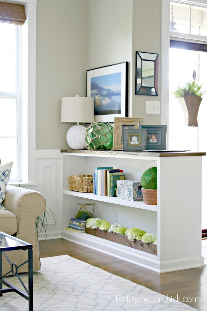 spring decor half bookcase