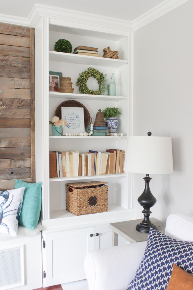 spring bookshelf decor