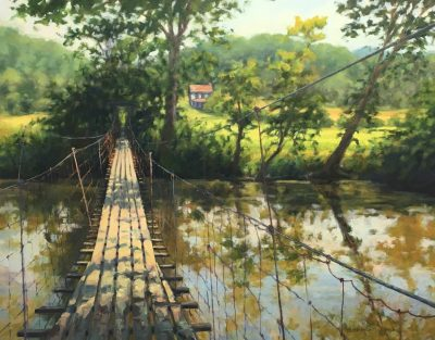Nan Mahone Wellborn, swinging bridge painting