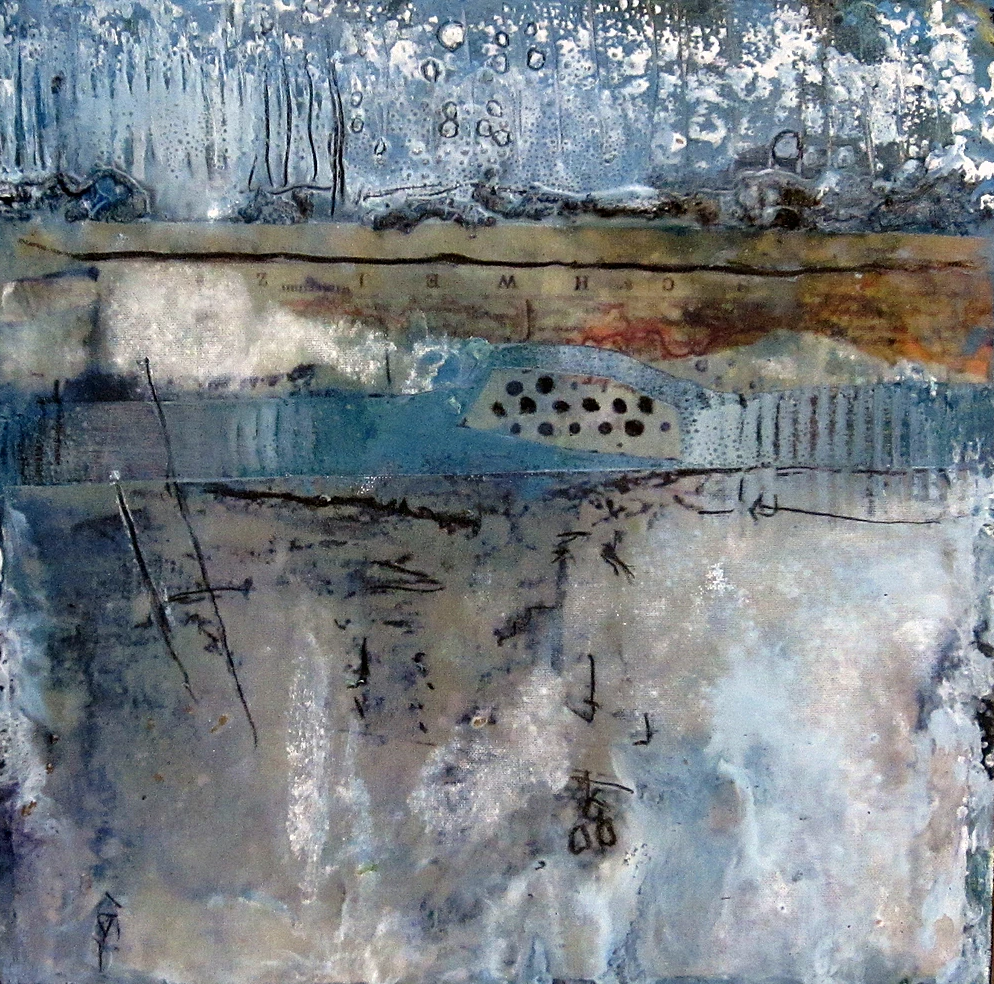 River Rocks-Encaustic Collage